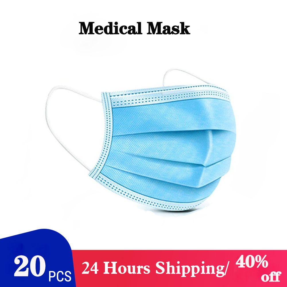 20 Pcs/Bag CE Medical Mask 3 Layer Non-woven Dust Mask Thickened Disposable Mouth Mask Features As KF94 FFP2 With CE