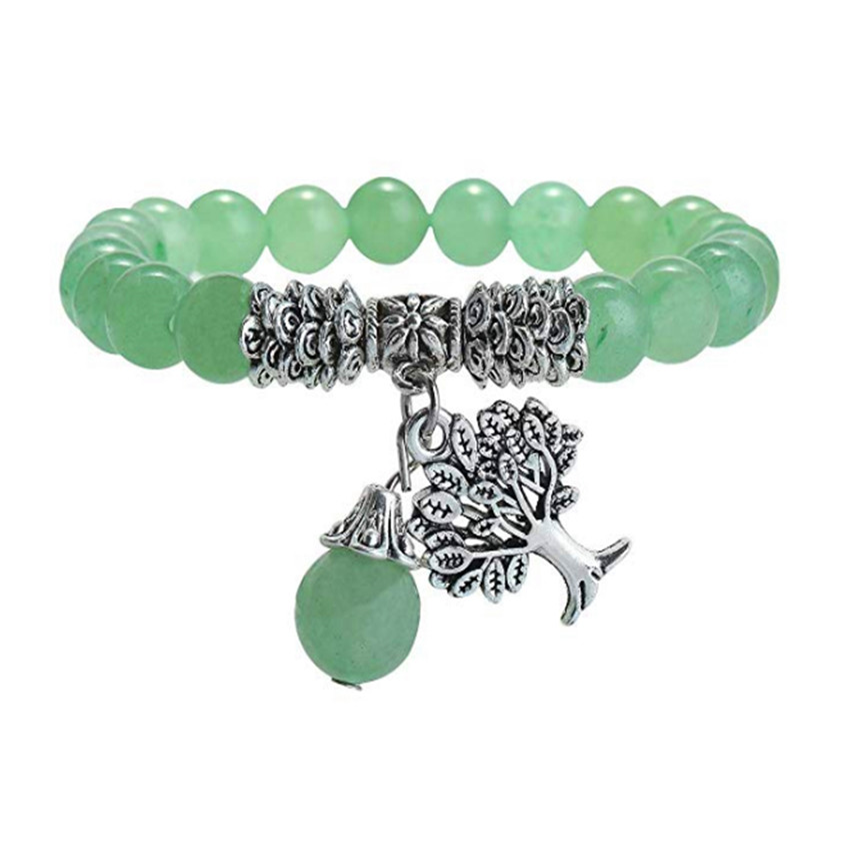FYJS Unique Silver Plated Tree of Life Connect Round Beads Elastic Bracelet Green Aventurine Jewelry