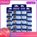 20 штук 100% оригинальный, новый Кнопка Батарея CR2450 батарейка кнопочного типа 3 в сотовый батарейки-таблетки для калькуляторов компьютер KCR2450 ...