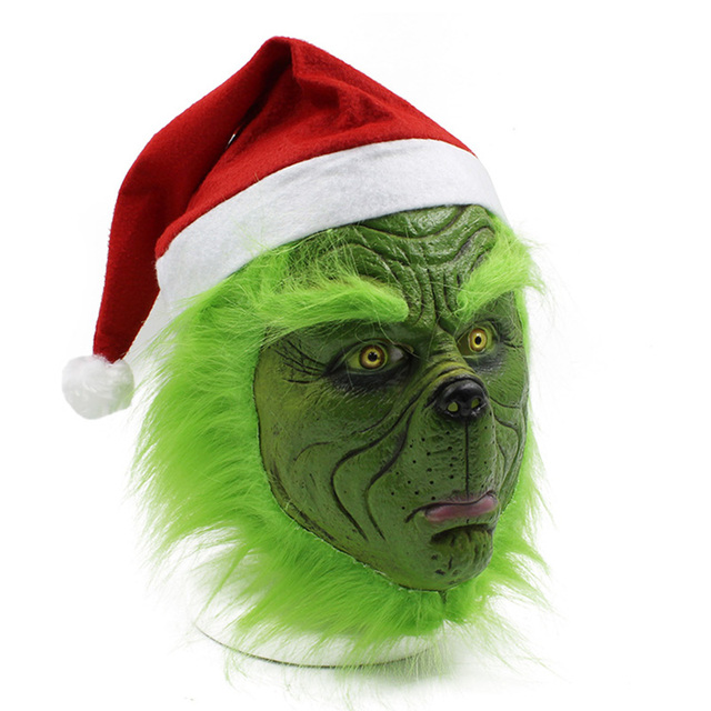 Funny Grinch Stole Christmas Latex Mask Gloves XMAS Costume Adult Party Mask Grinch Cosplay Carnival Face Masks 4
