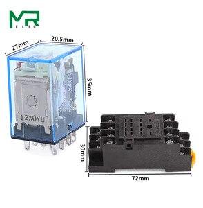 1 комплект MY4NJ маленькое электромагнитное реле питания DC12V DC24V AC110V AC220V катушка 4NO 4NC din-рейка 14 контактов + Базовое мини-реле