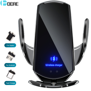 Automatic 15W Qi Car Wireless Charger for iPhone 12 11 XS XR X 8 Samsung S20 S10 Magnetic USB Infrar
