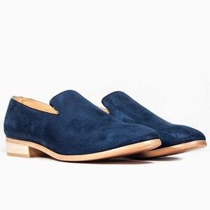 Image 5 - Mocasines de piel de ante informales para hombre, calzado moderno con puntera puntiaguda, Oxford, 2018