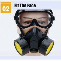 Neue Schutz Filter Dual Gas Maske Chemische Gas Anti Staub Farbe Atemschutz Gesicht Maske mit Brille Industrielle Sicherheit-in Masken aus Sicherheit und Schutz bei