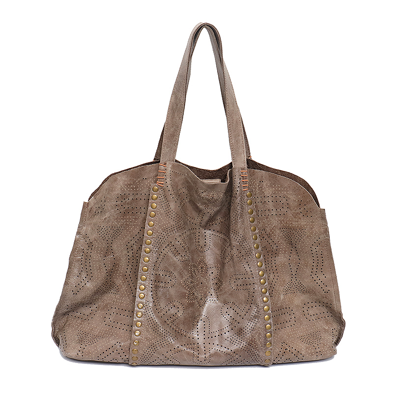 SC Luxury Oil Wax Leather Tote Handbag For Women Vintage Hollow Out Pattern Female Soft Genuine Leather Shoulder Bag Large Bolsa