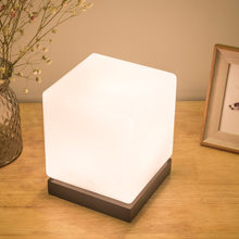 Japanese-style Glass Lampshade Wood Base Table Lamp Square Creative Table Lamp LED Night Light Bedside Lamp(China)