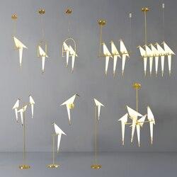 Золотая птица, бумажная клетка, подвесной светильник, для гостиной, спальни, оригами, птица, светильник, для кухни, подвесной светильник, для ...
