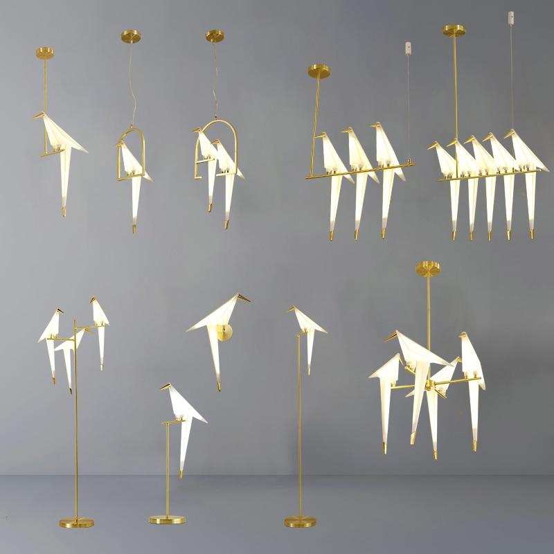 Gold Bird Cage Paper Pendant Light Living Room Bedroom Origami Bird Light Kitchen Hanging Lamp Dining Room Home Decor