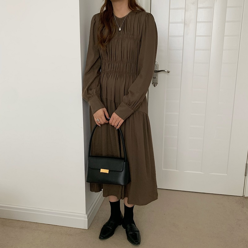H3b85e1525eb4497a87e6b72e06c8361d7 - Autumn Korean O-Neck Long Sleeves Minimalist Solid Midi Dress