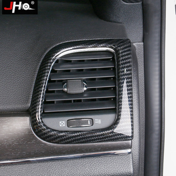 JHO ABS Carbon Grain Car Front Air Vent Outlet Overlay Cover Trim For 2014-2019 Jeep Grand Cherokee 2017 2016 2015 WK2 2018