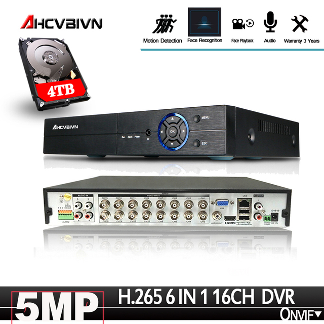 16Channel DVR AHD/CVI/TVI/IP 2592*1944 5MP CCTV Video Audio Face Recorder Hybrid DVR NVR HVR 6 In 1 Security System App view PTZ