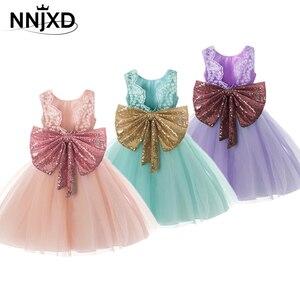 Słodka duża kokarda sukienki dla małych dziewczynek bez rękawów cekiny powrót dekolt formalna księżniczka suknia wieczorowa sukienka na przyjęcie urodzinowe dla dzieci dziecko