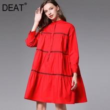 DEAT 2021 New Fashion Large Size XL-4XL Women's Shirt Dress Full Sleeve Stripe Lapel Wild Elegant Knee Length Slim Cloth AQ747