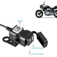 Cargador de puerto USB dual para motocicleta, adaptador de teléfono móvil para manillar, a prueba de agua, 5v 1a/2,1a, 12v