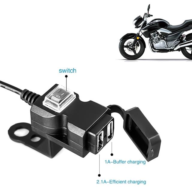 Podwójny Port USB 12V wodoodporna motocykl kierownica motocykla ładowarka 5V 1A 2 1A Adapter gniazdo zasilania dla telefonu komórkowego tanie i dobre opinie EAFC CN (pochodzenie) Urządzenia do ładowania USB