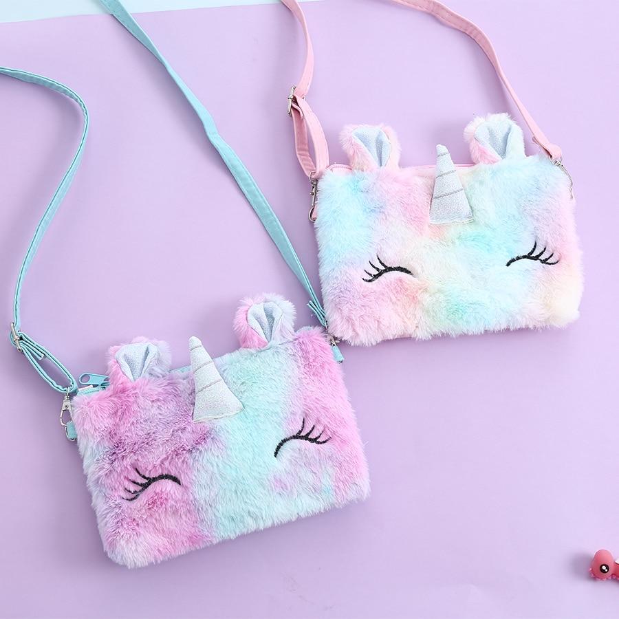 New 2020 Unicorn Leather Girl Shoulder Bag Faux Fur Women Handbag Baby Girls Small Messenger Bag