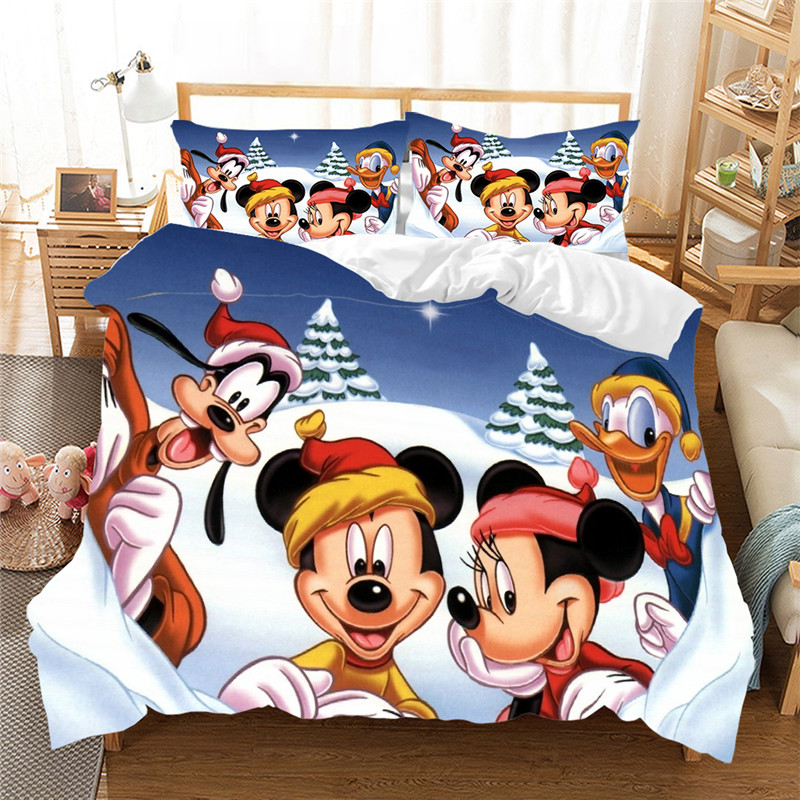 Christmas Bedding Set Mickey Minnie Duvet Cover Set Children Bed Set Queen King Size Gift Nightmare Before Christmas