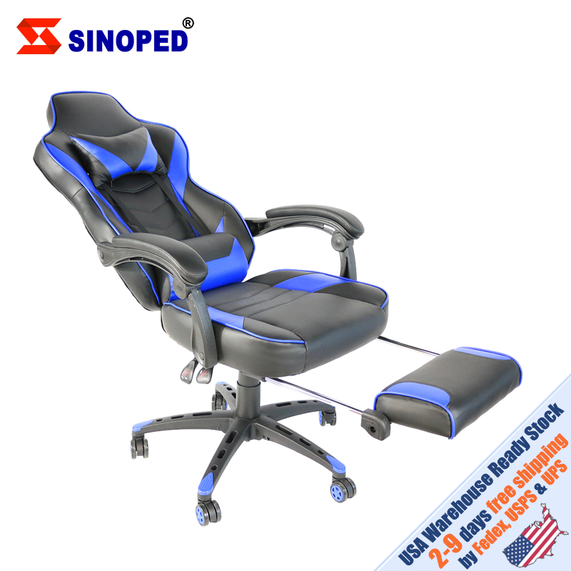 【SINOPED】C-type Foldable Nylon Foot Racing Chair With Footrest Black & Blue Free Shipping To USA