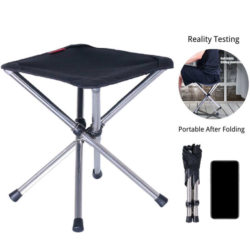 Retractable Folding BBQ Stool Camping Fishing Chair Outdoor Portable Foldable Chair Load Bearing Travel Picnic Beach Chairs