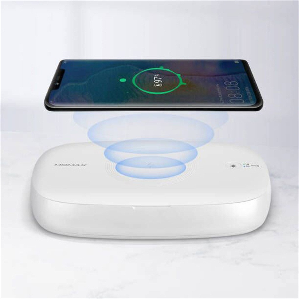 MOMAX <font><b>10W</b></font> Wireless Charging <font><b>Charger</b></font> UV-Box Sanitizing Box for Mask for iPhone for Samsung for Huawei for Xiaomi for Earphone image