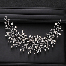 Trendy Silver Color Wedding Headband Baroque Pearl Crystal Headband Bridal Hair Accessories Prom Handmade Headdress Accessories недорого