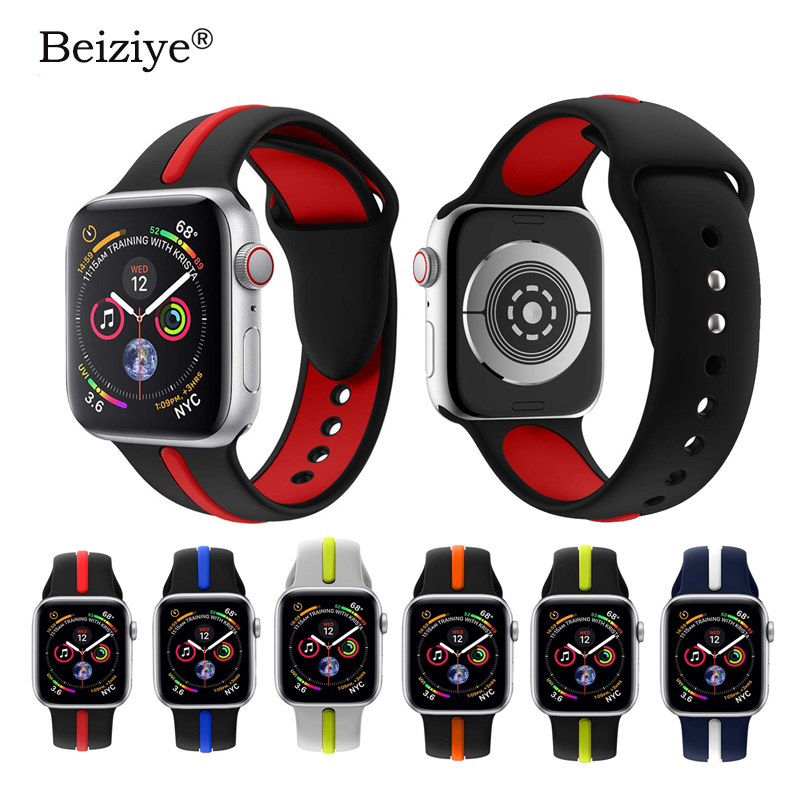 Soft Silicone Sport Strap For Apple Watch Band 38mm 42mm 40mm 44mm Series 5 4 Bracelet Pulseira Sport Loop Band For IWatch 3 2 1