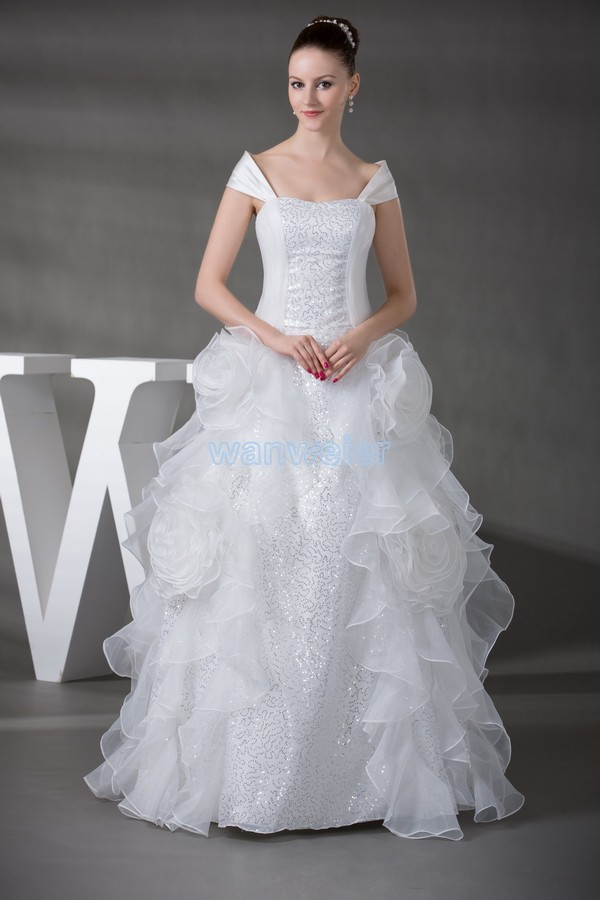 Free Shipping Bridal Gowns And Wedding Of Dress 2016 New Custom Size/color Church Dress White Silver Elaborate Wedding Dresses