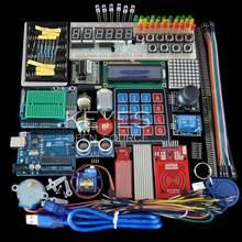 Kit de partida para arduino uno r3-mega328p tábua de pão e suporte passo motor/sg90 servo/1602 lcd/jumper fio/módulo rfid/relé