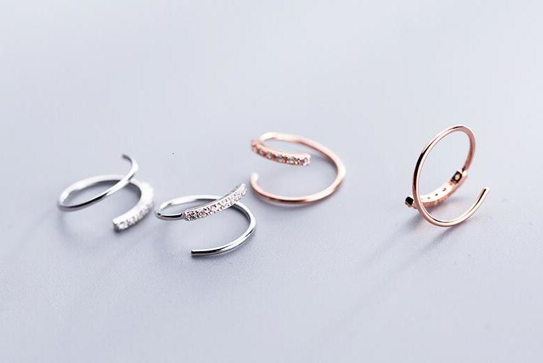 SMALL 1pair Real. 925 Sterling Silver fine jewelry MULTI-LAYERS Twisted roped WAVE TWIN Threader ear earrings cz set GTLE2718