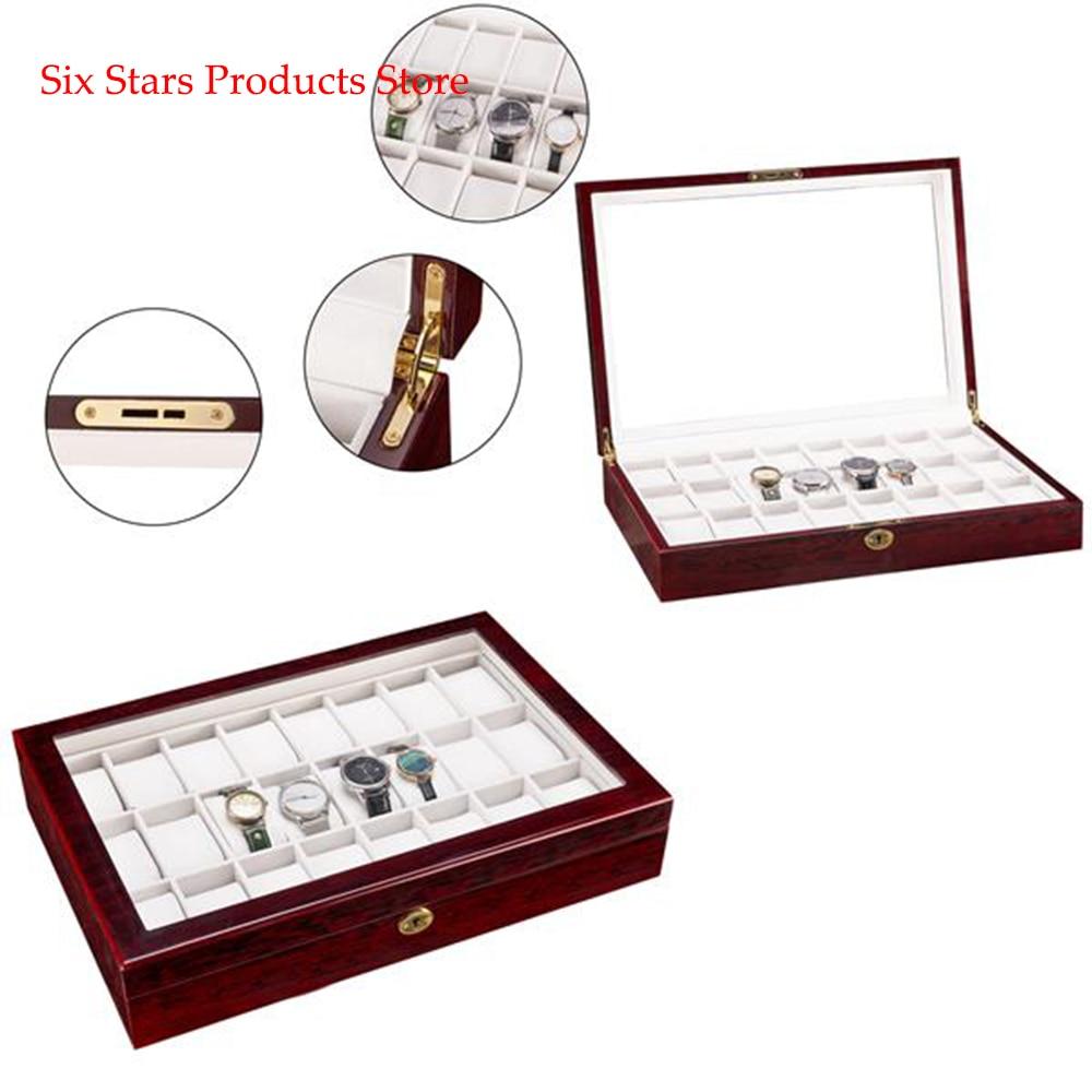 24 Slots Wooden Case Watch Display Case Glass Top Jewelry Storage Organizer Gifts
