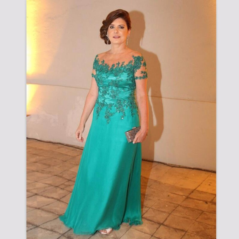 Green Mother Of The Bride Dresses A-line Short Sleeves Chiffon Appliques Beaded Groom Mother Dresses For Weddings