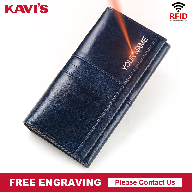KAVIS 100% Genuine Leather Women Wallet Female Coin Purse Hasp Portomonee Clutch Money Bag Lady Handy Long Free Engraving