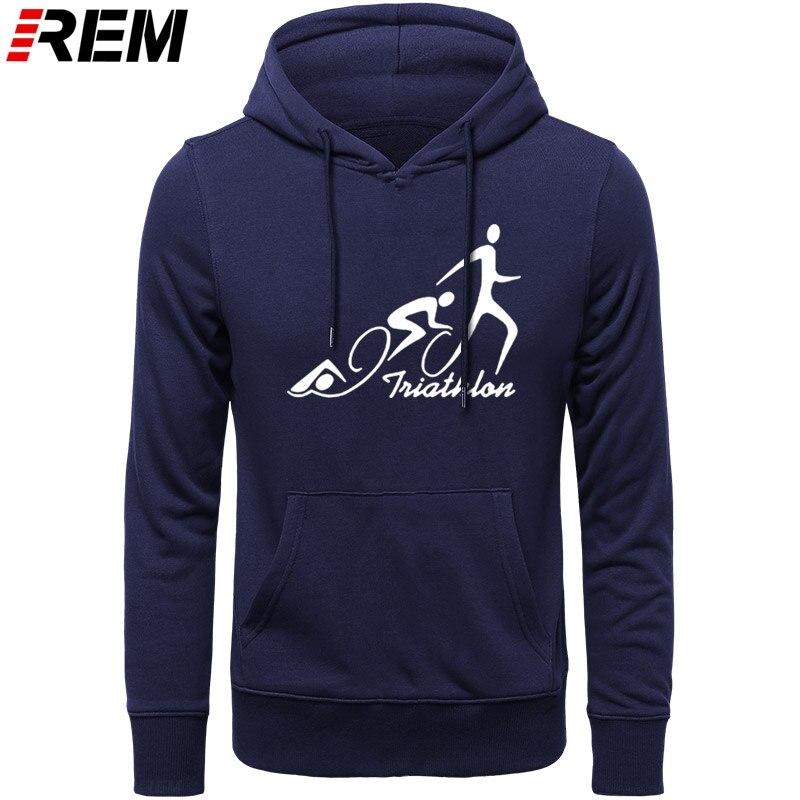 REM Triathlon Swimmings Biking Runnings Funny Print For Men Fashion Long Sleeve Cotton Men Patchwork Top Hoodies, Sweatshirts
