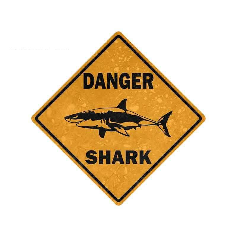 13cm X 13cm Interesting Danger Sign Shark Area Surf Car Sticker Vinyl Car Styling Accessories Decal PVC