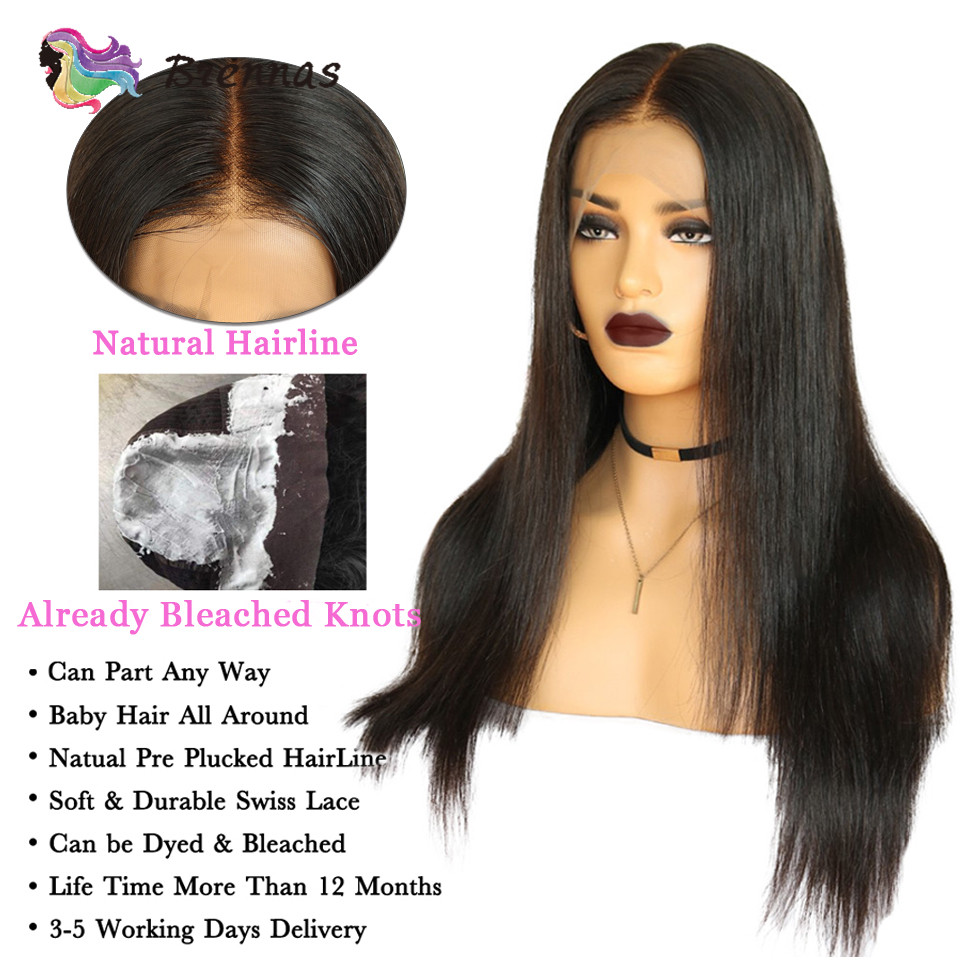 Brazlilian Straight Lace Front Human Hair Wigs #1B & #4 Pre Plucked Glueless Wig Bleached Knots Remy Hair Wig For Black Women