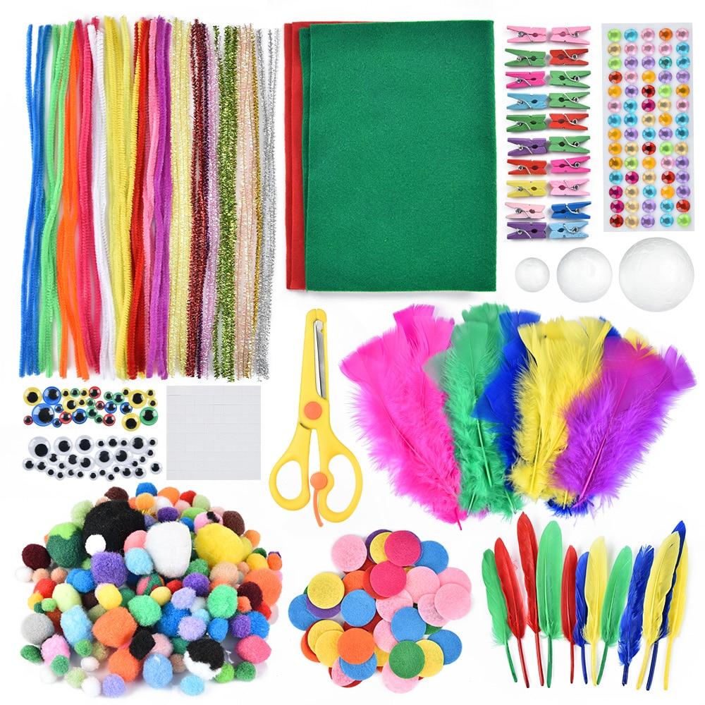 Diy arte artesanato kit para crianças artes criativas artesanato suprimentos colorido plush vara pompons chenille pipe cleaner material artesanato