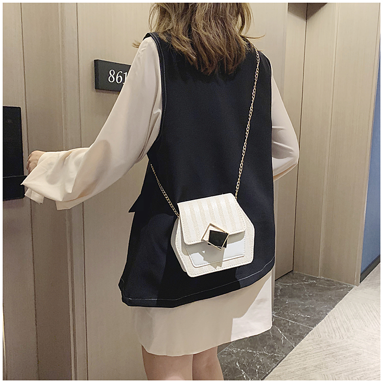 Mini Bag Girl 2019 New Korean Edition Fresh and Popular Fashion Chain PU Slant Bag Personal Bag Mobile Geometric Bag Clothes 96