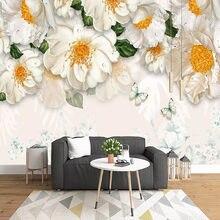 Personalizado 3d mural papel de parede moderno simples flores amarelas pintura a óleo fresco sala estar sofá tv quarto papéis 3d decoração da sua casa