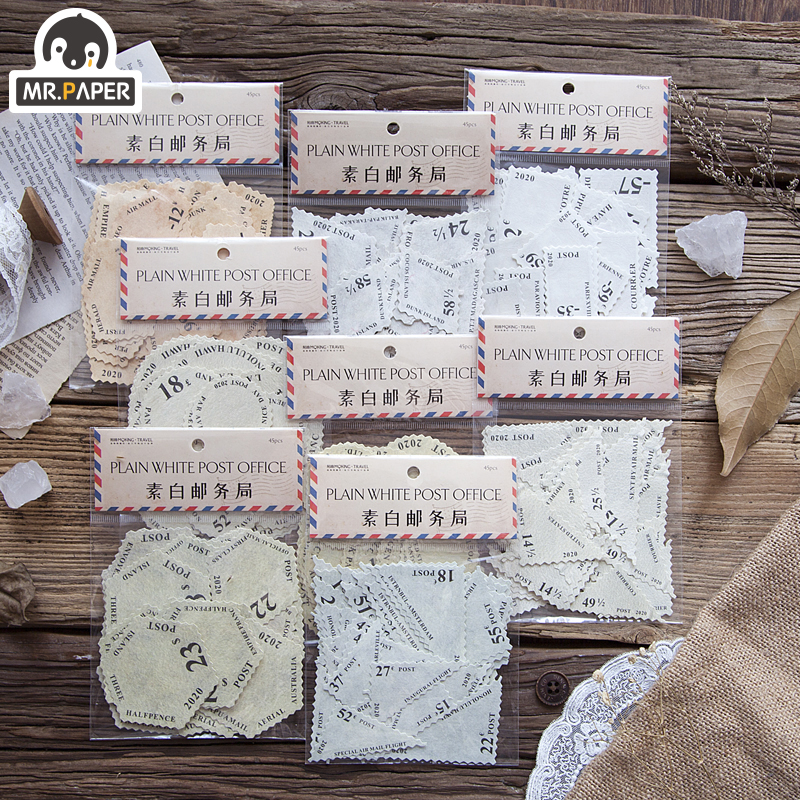 Mr.Paper 45pcs/lot 8 Designs Post Office Stamp Memo Pads Creative Vintage Artsy Motor Cycle Loose Leaf Note Doodling Memo Pads