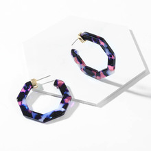 Big Leopard Print  Acrylic Hoop Earrings for Women Tortoiseshell Polygon Geometric Circle Statement Earrings Jewelry Wholesale
