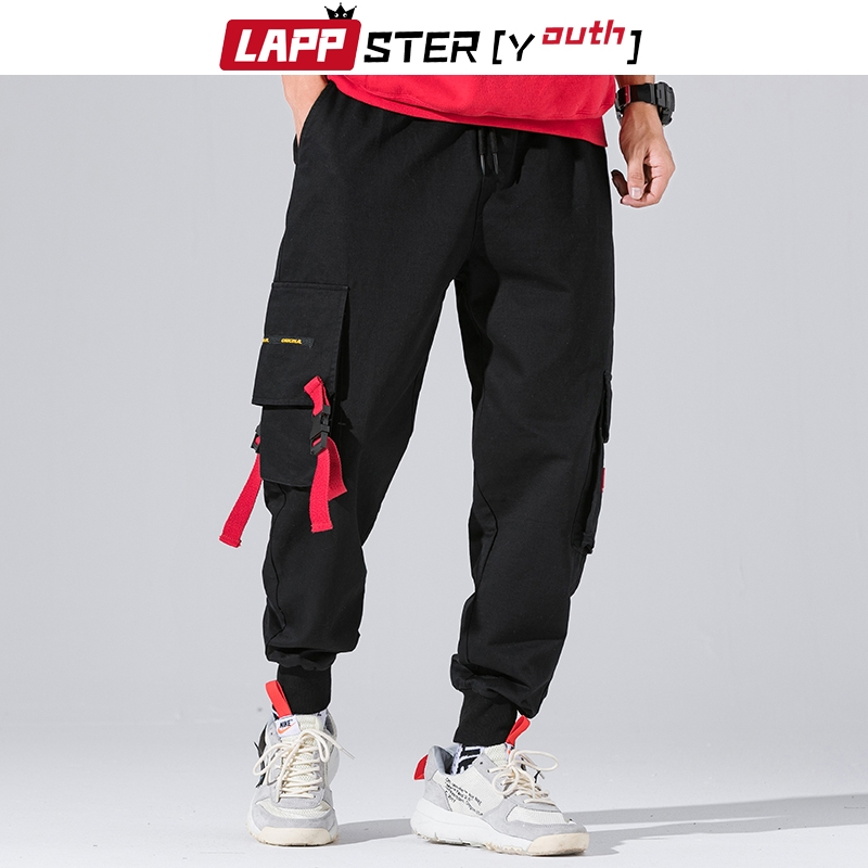 LAPPSTER-Youth Ribbons Streetwear Cargo Pants Men 2019 Overalls Mens Hip Hop Sweatpants Autumn Joggers Korean Style Track Pants