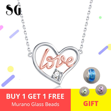 Heart Necklaces 925 sterling silver Romantic GOLD LOVE Cubic Zirconia Sterling Silver Jewelry For Couple Lover Gift