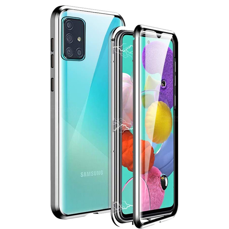 magnetic metal double sided <font><b>case</b></font> on for <font><b>samsung</b></font> galaxy a51 a71 a10s <font><b>m30s</b></font> m21 cover tmepered <font><b>glass</b></font> <font><b>case</b></font> samsun m 21 m 30s a 71 51 image