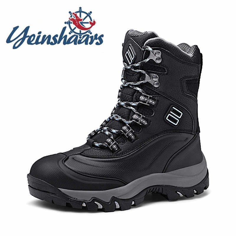 Heren Schoenen Echt Leer Laarzen Winter Snowboots Mode Warme Laarzen Lace-Up Solid Ademend Schoeisel Mannen Casual Sneakers