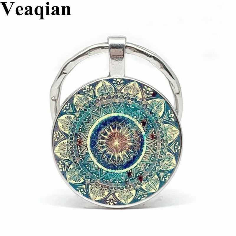 Veaqian nowa szklana kopuła breloczek buddyjska czakra wypukła okrągła szklana dekoracja z wisiorków Om indyjska joga Mandala klucz wisiorek obrączka