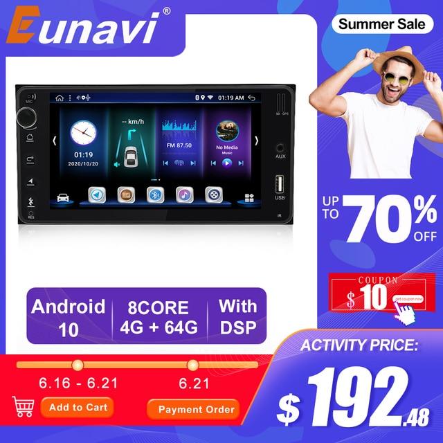 Eunavi 2 Din Android Car Radio Multimedia Player for Toyota Corolla Vios Crown Camry Hiace Previa RAV4 Car auto Stereo GPS Navi