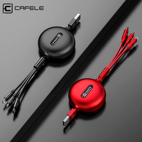 Cafele 3 in1 Micro USB Cable For iPhone Retractable Cable 120cm Support Fast Charging Type C Cable For Xiaomi Huawei Data Sync