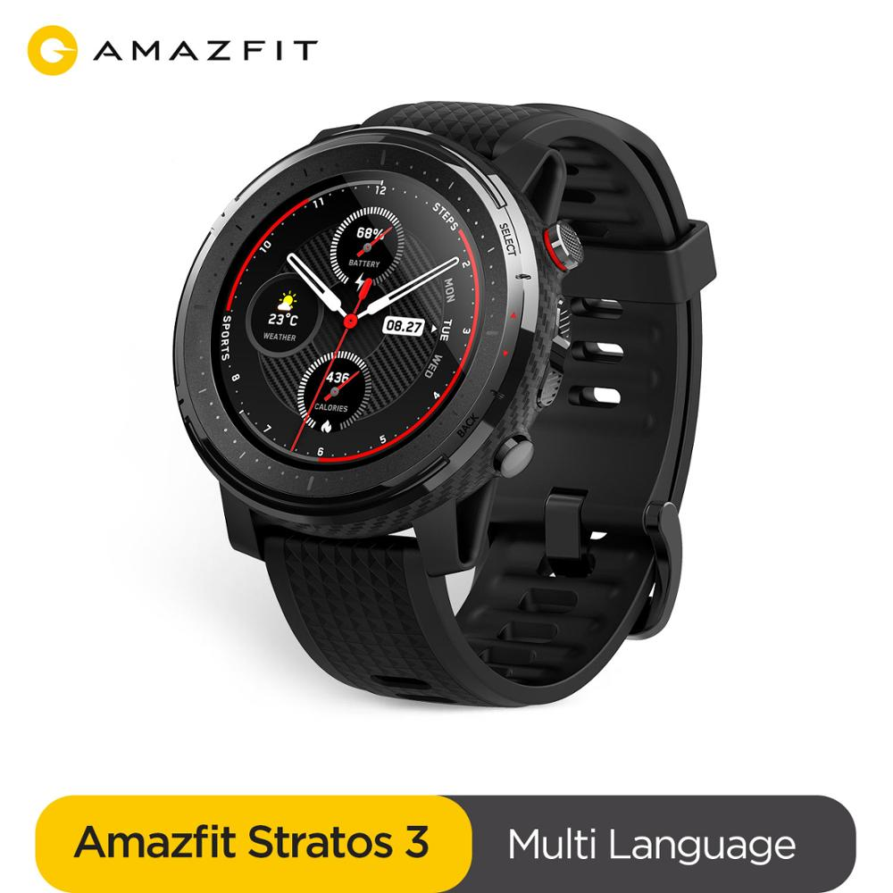 New Amazfit Stratos 3 GPS Smartwatch 5ATM Bluetooth Music Heart Rate Dual Mode 14 Days Battery For Xiaomi 2019