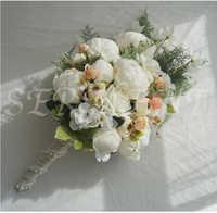 Peônia queda segurando flores bouquet de casamento para noivas altura 18.89 polegada largura 9.84 polegada peso 0.38kg linho frete grátis