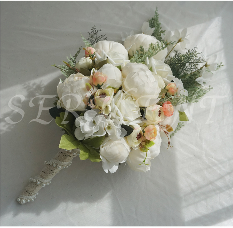 Peony Drooping Holding Flowers Wedding Bouquet For Brides Height 18.89inch Width 9.84inch Weight 0.38kg Linen Free Shipping